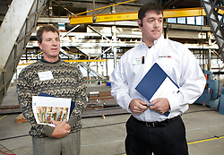Kreg Klaver and Andy Lester, of Anderson Windows were on hand as Blu Homes opened their West Coast factory on Mare Island in Vallejo, California Dec. 1, 2011.  Over 400 guests attended a ribbon cutting ceremony at the 250,000-square-foot facility.
