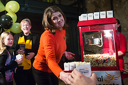 London, UK. 9 November, 2019. Jo Swinson, leader of the Liberal Democrats, distributes popcorn at the Rally for the Future in Battersea in order to set out the party's vision to Stop Brexit and Build A Brighter Future.