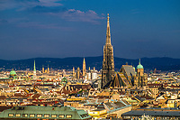 Cityscape overview of Vienna, Austrai featuring St. Stephen's Cathedral.