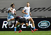 Sale Sharks wing Marland Yarde runs at Harlequins fly-half Marcus Smith during The Premiership Rugby Cup Final at The AJ Bell Stadium, Eccles, Greater Manchester, United Kingdom, Monday, September 21, 2020. (Steve Flynn/Image of Sport)