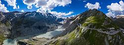 THEMENBILD - Die Pasterze ist mit etwas mehr als 8 km Länge der größte Gletscher Österreichs und der längste der Ostalpen. Seit 1856 hat ihre Fläche von damals über 30 km² um beinahe die Hälfte abgenommen. Hier im Bild Panoramaansicht der Pasterze mit Gletschersee, links der Grossglockner 3798m rechts Grossglockner Hochalpenstrasse mit Kaiser Franz Josefs Höhe. Heiligenblut, Österreich am Freitag 21. August 2020 // With a length of just over 8 km, the Pasterze is the largest glacier in Austria and the longest in the Eastern Alps. Since 1856, its area has decreased by almost half from then 30 km². Picture shows Panorama view of the Pasterze glacier with glacier lake, on the left the Grossglockner summit 3798m and on the right the Grossglockner High Alpine Road with Kaiser Franz Josefs Hoehe. Heiligenblut, Austria on Friday August 21, 2020. EXPA Pictures © 2020, PhotoCredit: EXPA/ Johann Groder<br /> <br /> ***** ACHTUNG - dieses Bilddatei ist für den Grossformatdruck in einer maximalen Grösse mit mehr als 18000 x 6600 pixel (ca. 700 MB) verfügbar! Fragen Sie nach den hochauflösenden Daten // ATTENTION - This image file is for Large Format Printing available in a maximum size of more then 18000 x 6600 pixels (about 700 MB)! Ask for the high-resolution data. *****