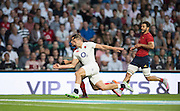 Twickenham, England.  England's, Jonny MAY,  defending, as he and Brice DULIN,  backed up by, Sofiane GUITOUNE, race for the, loose ball, during the QBE International. England vs France [World cup warm up match]  Saturday.  15.08.2015,  [Mandatory Credit. Peter SPURRIER/Intersport Images].