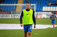 Peterborough United defender Steven Taylor (27) warming up before the EFL Sky Bet League 1 match between Peterborough United and Southend United at London Road, Peterborough, England on 3 February 2018. Picture by Nigel Cole.
