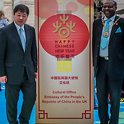 London,England,UK. 28th January 2017: Xiang Xiaowei,Councillor Olu Babatola attends the spectacle puppets show an hour and a hlaf long for the Chinese New Year: Guangzhou Art Troupe at National Maritime Museum,London,UK. by See Li