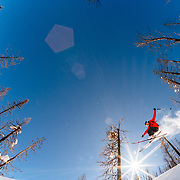 Jim Ryan grabs an air amongst the wildfire burned trees in the Teton backcountry.