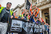 Britain needs a pay rise - A march organised by the TUC to demand fairer and pay rises for the lowest paid and particularly in the public sector. The march started at Embankment, passed through Trafalgar Square, then past the Institute of Directors and ended with speeches in Hyde Park.
