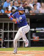CHICAGO - AUGUST 22:  Elvis Andrus #1 of the Texas Rangers bats against the Chicago White Sox on August 22, 2019 at Guaranteed Rate Field in Chicago, Illinois.  (Photo by Ron Vesely)  Subject:   Elvis Andrus