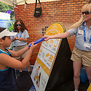 August 16, 2014, New Haven, CT:<br /> A fan interacts with the First Niagara Banko game on day four of the 2014 Connecticut Open at the Yale University Tennis Center in New Haven, Connecticut Monday, August 18, 2014.<br /> (Photo by Billie Weiss/Connecticut Open)