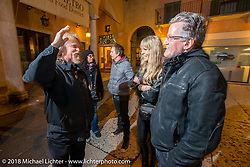 Kirk Taylor, Karen Davidson and Ray Drea after a great dinner at the 12 Apostles Restaurant (in continuous operation with the same name for almost 300 years) during Motor Bike Expo. Verona, Italy. January 23, 2016.  Photography ©2016 Michael Lichter.