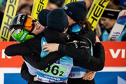 Nika Kriznar of Slovenia, Ursa Bogataj of Slovenia, Spela Rogelj and Jerneja Brecl of Slovenia of Slovenia celebrate after placed second during Team Competition at Day 2 of World Cup Ski Jumping Ladies Ljubno 2019, on February 9, 2019 in Ljubno ob Savinji, Slovenia. Photo by Matic Ritonja / Sportida