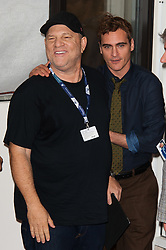 Producer Harvey Weinstein and Joaquin Phoenix attending 'The Master' Photocall during the 69th Venice Film Festival held at the Palazzo del Casino in Venice, Italy on September 1, 2012. Photo by Nicolas Genin/ABACAPRESS.COM    332852_025 Venise Venice Italie Italy