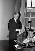 10/05/1965<br /> 05/10/1965<br /> 10 May 1965<br /> Minister for Finance Jack Lynch prepares to leave for the Dail on May 10, 1965, to present his first Budget Day speech.