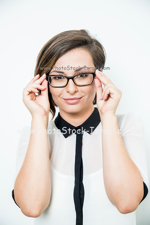 Successful assertive business woman with eyeglasses