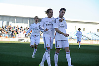 Real Madrid Castilla´s Burgui and Noblejas celebrates a goal during 2014-15 Spanish Second Division match between Real Madrid Castilla and Athletic Club B at Alfredo Di Stefano stadium in Madrid, Spain. February 08, 2015. (ALTERPHOTOS/Luis Fernandez)