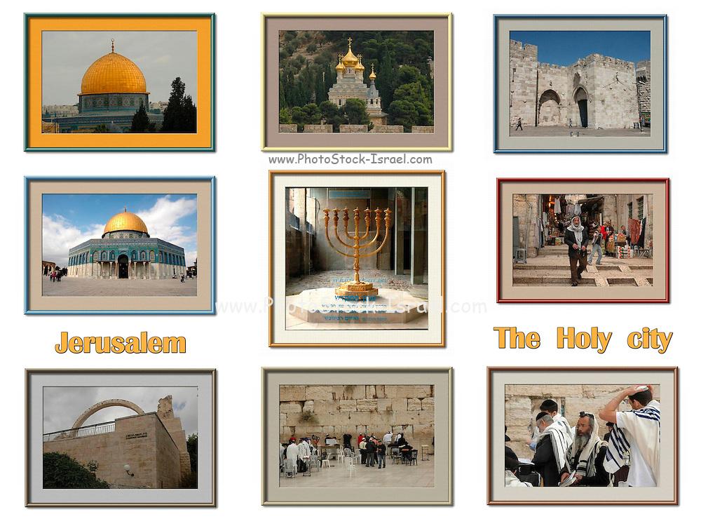 9 Image Collage of Jerusalem, Israel
