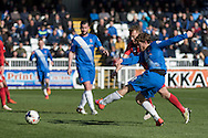 Hartlepool United midfielder Lewis Hawkins in action during  the Sky Bet League 2 match between Hartlepool United and York City at Victoria Park, Hartlepool, England on 16 April 2016. Photo by George Ledger.
