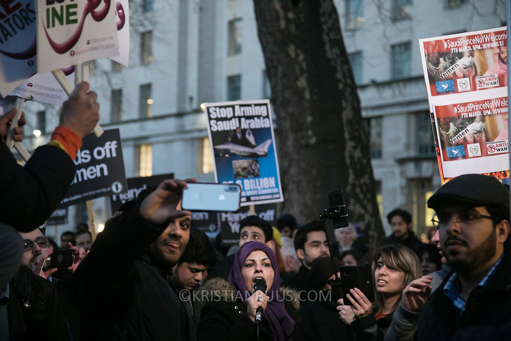 Protesters agains the visit by Saudi prince Bin Salman gather opposite Downing Street March 7th 2018 in London, United Kingdom. Many are angry at the Saudi involvement and continued bombing in Yemen with tens of thousands of civilian casualties and many more displaced by the war.
