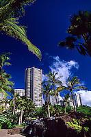 Skyscrapers near Waikiki, Honolulu, Oahu, Hawaii USA
