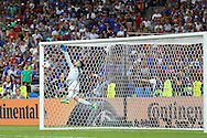 France Goalkeeper Hugo Lloris sees Portugal Midfielder Ricardo Quaresma free kick hit the woodwork during the Euro 2016 final between Portugal and France at Stade de France, Saint-Denis, Paris, France on 10 July 2016. Photo by Phil Duncan.