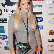 London,England,UK. 14th May 2017. Amy christophers is a sports presenter,journalist and a former page 3 girl attends the BBL Play-Off Finals also fundraising for Hoops Aid 2017 but also a major fundraising opportunity for the Sports Traider Charity at London's O2 Arena, UK. by See Li