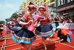 April 18, 2018 - Shangsi, Shangsi, China - Shangsi, CHINA-18th April 2018: People celebrate Sanyuesan Festival in Shangsi County, southwest China's Guangxi. Sanyuesan Festival is a folk festival of ethnic minority in China, which takes place on 3rd March in the Lunar Calendar. (Credit Image: © SIPA Asia via ZUMA Wire)