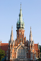 saint joseph church in podgorze, krakow, seen from the front facade, with afternoon sunlight in september 2005