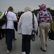 British fans arrive for the Kayak Single (K1) Men Final during the Canoe Slalom competition at Lee Valley White Water Centre during the London 2012 Olympic games. London, UK. 1st August 2012. Photo Tim Clayton