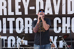 The Devil in California perform at the Harley-Davidson rally point for the Harley-Davidson Editors Choice Ride-In Show during the annual Sturgis Black Hills Motorcycle Rally.  SD, USA.  August 8, 2016.  Photography ©2016 Michael Lichter.