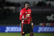 Paul Pogba of Manchester Utd thanks the Manchester Utd fans at the end of the match.  Premier league match, Swansea city v Manchester Utd at the Liberty Stadium in Swansea, South Wales on Sunday 6th November 2016.<br /> pic by  Andrew Orchard, Andrew Orchard sports photography.