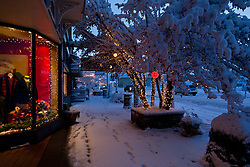 """""""Holiday Lights in Downtown Truckee 3"""" - These snow covered holiday lights were photographed on Commercial Row in historic Downtown Truckee, CA."""