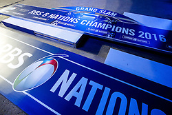 "The winners stage with ""Grand Slam"" on it lays in wait behind the scenes before the game in anticipation of an England win - Mandatory byline: Rogan Thomson/JMP - 19/03/2016 - RUGBY UNION - Stade de France - Paris, France - France v England - RBS 6 Nations 2016."