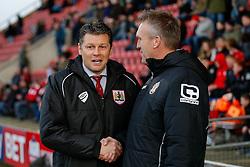 Bristol City Manager Steve Cotterill is greeted by Crewe Alexandra Manager Steve Davis - Photo mandatory by-line: Rogan Thomson/JMP - 07966 386802 - 20/12/2014 - SPORT - FOOTBALL - Crewe, England - Alexandra Stadium - Crewe Alexandra v Bristol City - Sky Bet League 1.
