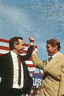 Candidate George Bush with Arnold Schwarzenegger at a rally in Columbus, Ohio in  November 1988..Photograph by Dennis Brack bb 27