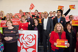 © Licensed to London News Pictures. 14/02/2016. Bristol, UK.  MARVIN REES (in white shirt)attends his campaign launch for Mayor of Bristol at Avon Primary School, Shirehampton, Bristol. Marvin Rees is the Labour candidate for Bristol's Mayoral election on 05 May, and his main rival is the incumbent George Ferguson, Bristol's first elected mayor who is standing again as an independent. There are four mayoral elections in May 2016, London, Bristol, Liverpool and Salford. Photo credit : Simon Chapman/LNP