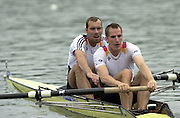 2002 FISA World Cup. Hazewinkel. BEL.       Friday  14/06/2002     .email images@Intersport-images.com.[Mandatory Credit: Peter Spurrier/Intersport Images]  .                                 /06/2002.Rowing    .M2- GER  Detlef Kirchoff and Ike Landvoigt Rowing, FISA WC.Hazenwinkel, BEL