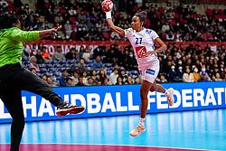 08-12-2019 JAP: Angola - France, Kumamoto<br /> First round President's Cup match Angola - France (17-28) at 24th IHF Women's Handball World Championship. / Estelle Nze Minko #27 of France