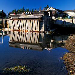 Great Wass Island, ME.  A lobster pound in Black Duck Cove on the coast of Great Wass Island in Down East Maine.  Part of U. Maine Machias lobster and clam hatchery.