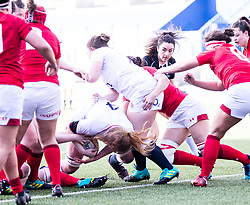 Catherine O'Donnell of England scores her sides sixth try<br /> <br /> Photographer Simon King/Replay Images<br /> <br /> Six Nations Round 3 - Wales Women v England Women - Sunday 24th February 2019 - Cardiff Arms Park - Cardiff<br /> <br /> World Copyright © Replay Images . All rights reserved. info@replayimages.co.uk - http://replayimages.co.uk