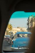 Car on city street from car interior, Havana, Cuba