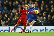 Daniel Sturridge of Liverpool gets the ball ahead of Andreas Christensen of Chelsea. Premier League match, Liverpool v Chelsea at the Anfield stadium in Liverpool, Merseyside on Saturday 25th November 2017.<br /> pic by Chris Stading, Andrew Orchard sports photography.