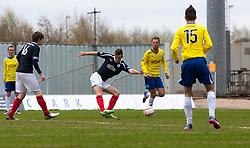 Falkirk's Kieran Duffie scoring their third goal..Falkirk 4 v 1 Morton, 4/5/2013..© Michael Schofield..