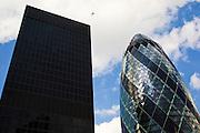 Swiss Re Building and Aviva Building, London, England, United Kingdom