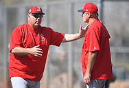 Manager Mike Scioscia talks with Bobby Grich during workouts at the Angels' Spring Training facility in Tempe, AZ on Wednesday, February 22, 2017. (Photo by Kevin Sullivan, Orange County Register/SCNG)