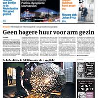 Tekst en beeld zijn auteursrechtelijk beschermd en het is dan ook verboden zonder toestemming van auteur, fotograaf en/of uitgever iets hiervan te publiceren <br /> <br /> Parool 6 februari 2014: Lotus Dome van kunstenaar Daan Roosegaarde in het Rijksmuseum