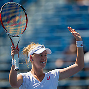 August 19, 2014, New Haven, CT:<br /> Alison Riske reacts after defeating Flavia Pennetta on day five of the 2014 Connecticut Open at the Yale University Tennis Center in New Haven, Connecticut Tuesday, August 19, 2014.<br /> (Photo by Billie Weiss/Connecticut Open)