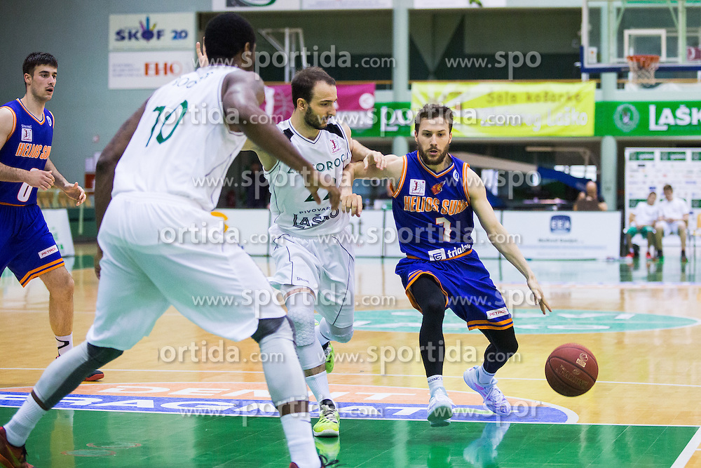 during basketball match between KK Zlatorog and KK Helios Suns in 1st match of Nova KBM Slovenian Champions League Final 2015/16 on May 29, 2016  in Dvorana Zlatorog, Lasko, Slovenia.  Photo by Ziga Zupan / Sportida