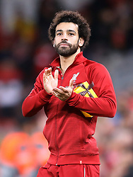 File photo dated 24-10-2018 of Liverpool's Mohamed Salah applauds the fans.