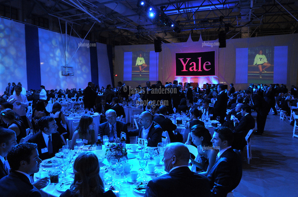 Yale University Department of Athletics Blue Leadership Ball 2009. Formal Dinner Bathed in Blue at the Lanman Center before Presentation of Awards to Blue Leader Honorees and Speeches.