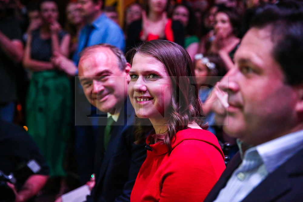© Licensed to London News Pictures. 22/07/2019. London, UK. JO SWINSON (R) and SIR ED DAVEY (L) at the leadership announcement event in Westminster. <br /> JO SWINSON is elected as the new leader of the Liberal Democrats. JO SWINSON, MP for East Dunbartonshire,won the leadership election receiving47,997 votes. Photo credit: Dinendra Haria/LNP