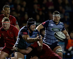 Cardiff Blues' George Earle gets the ball away<br /> <br /> Photographer Simon King/Replay Images<br /> <br /> Guinness PRO14 Round 15 - Cardiff Blues v Munster - Saturday 17th February 2018 - Cardiff Arms Park - Cardiff<br /> <br /> World Copyright © Replay Images . All rights reserved. info@replayimages.co.uk - http://replayimages.co.uk